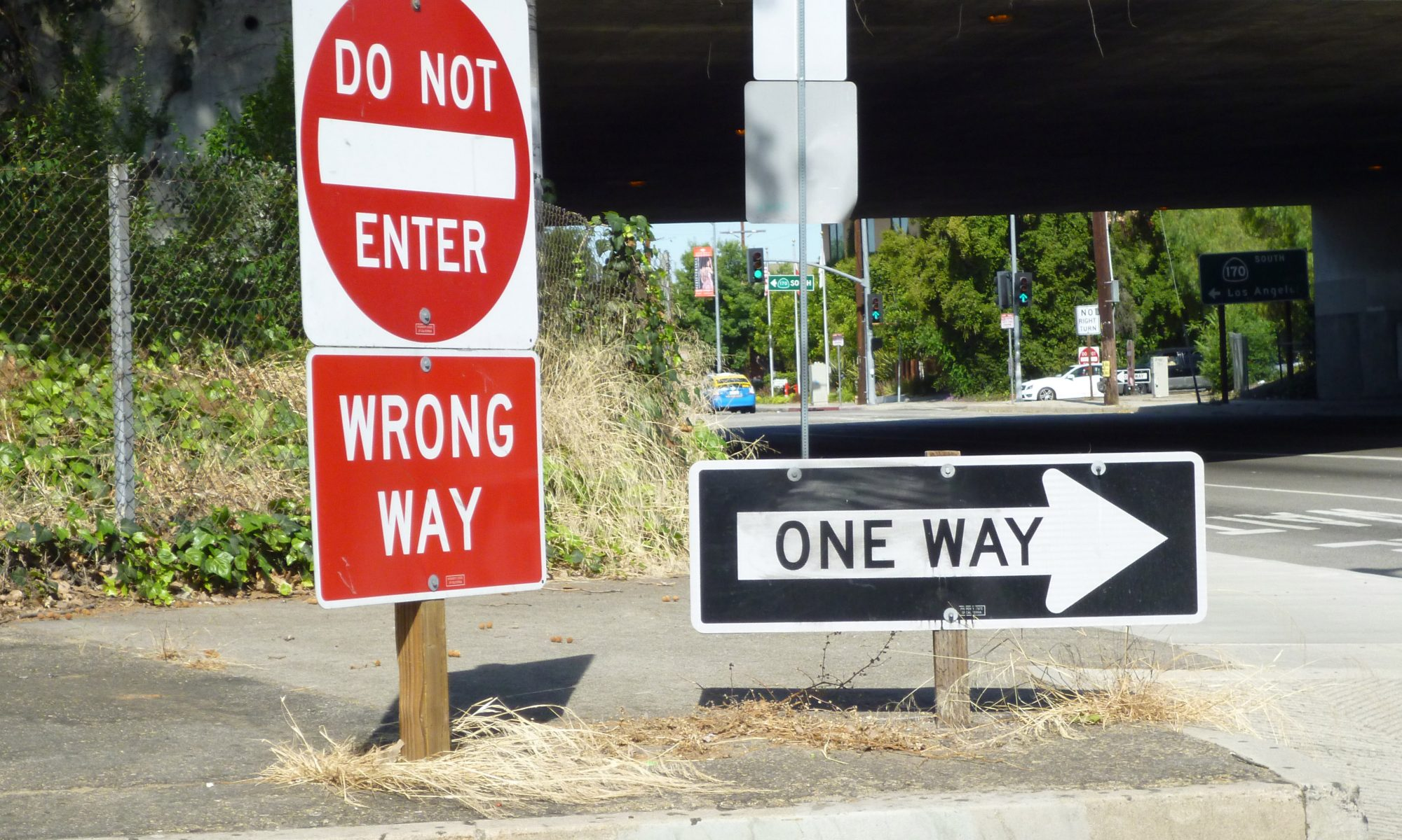 Signage: one way, wrong way, do not enter